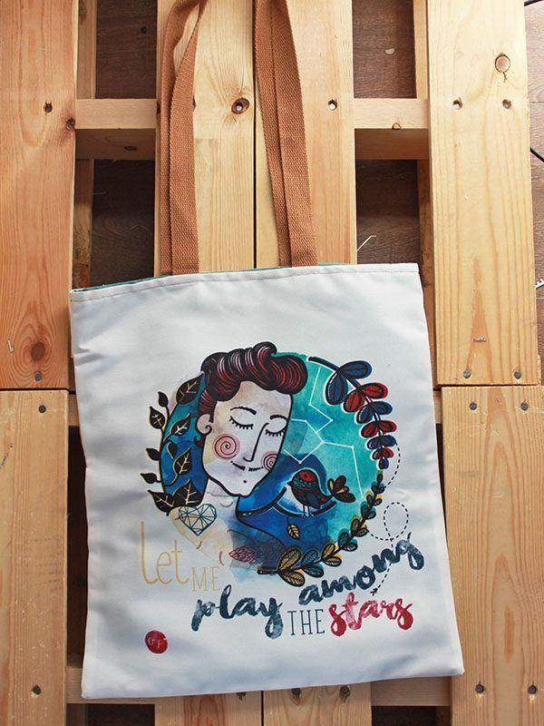 Tote bag handmade: ilustración de Lorena Medrano. In-Diana.